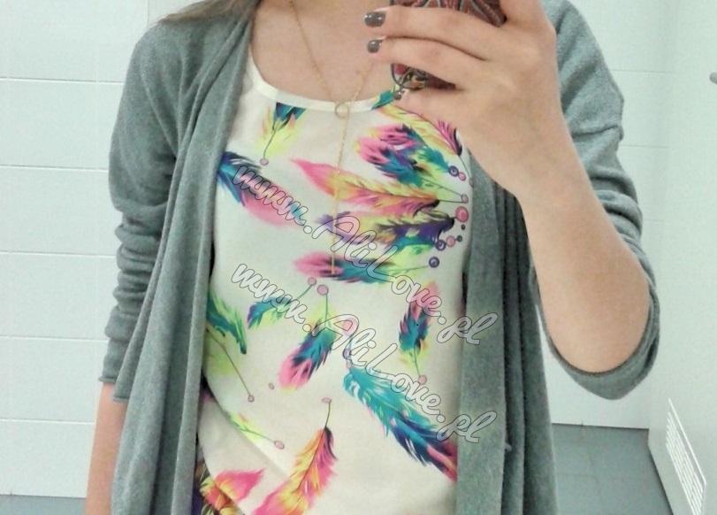 Bluzka w kolorowe piórka szyfonowa