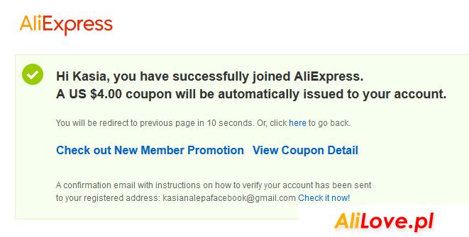 Darmowe kupony od AliExpress dla nowych użytkowników