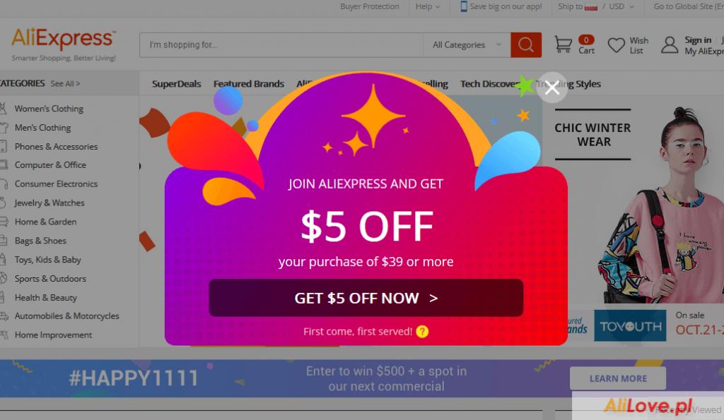 Darmowy kupon dla nowych użytkowników AliExpress kupon $5 dla nowych użytkowników aliexpress alilove