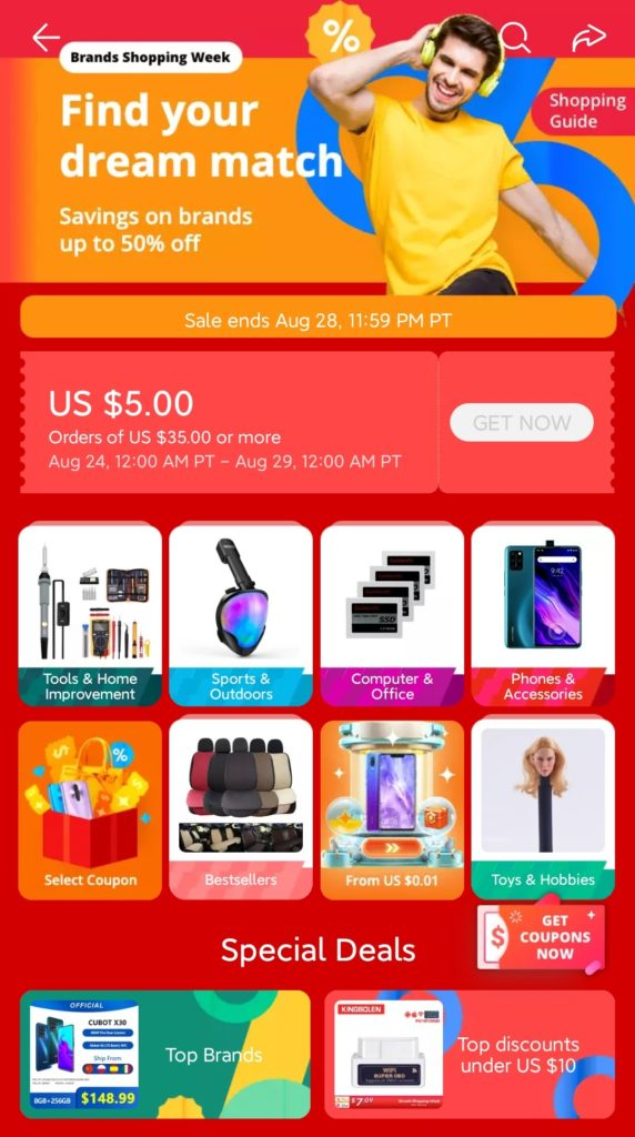 Week of famous brands on AliExpress coupons, discounts, promotional codes