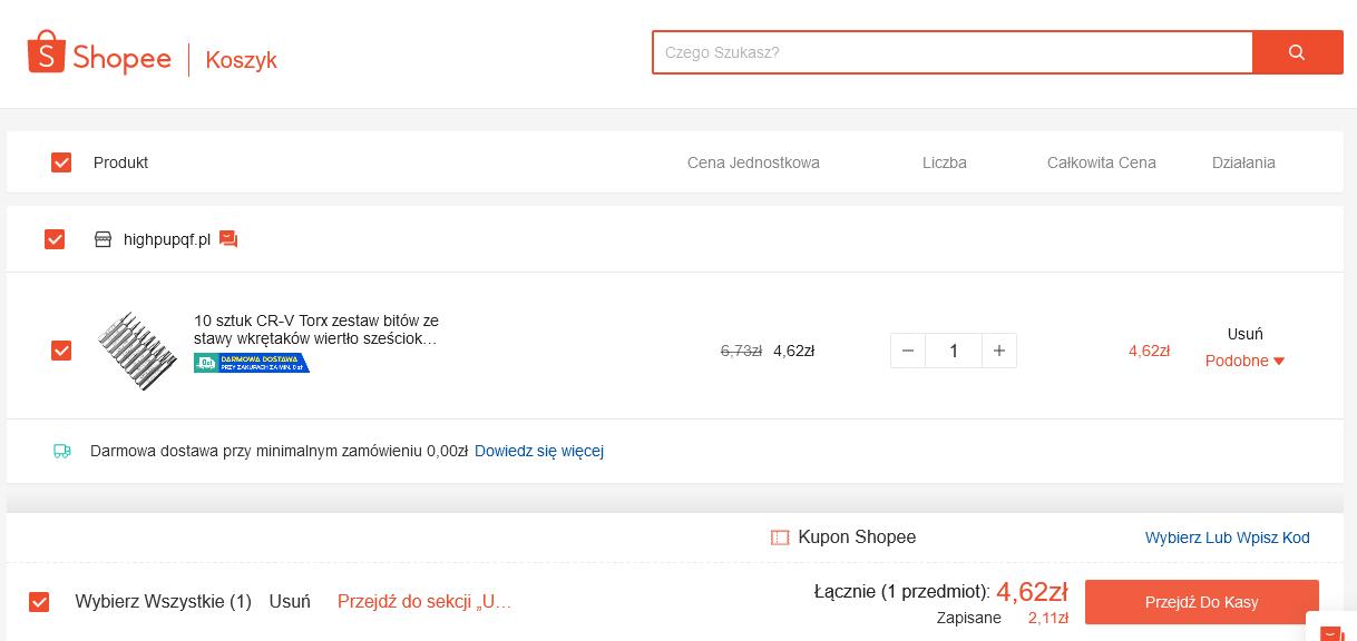shopee jak kupować jak robić zakupy jak płacić dostawa szukanie produktów